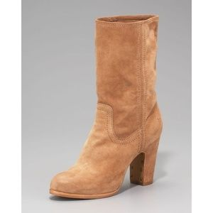 FRYE Mirabelle Short Taupe Suede Leather Boots